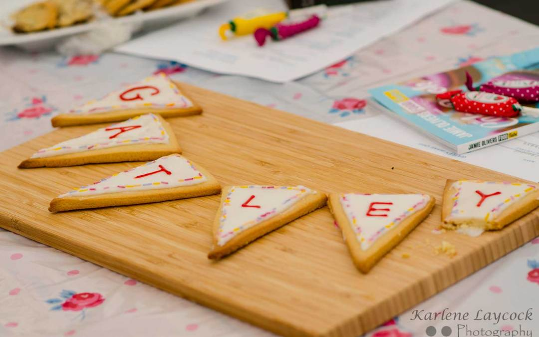 Photograph of Bunting Shaped Cookies taken at Gatley Bake Off Event