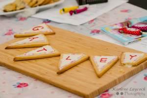 Bake Off Gatley Cookies shaped as Bunting