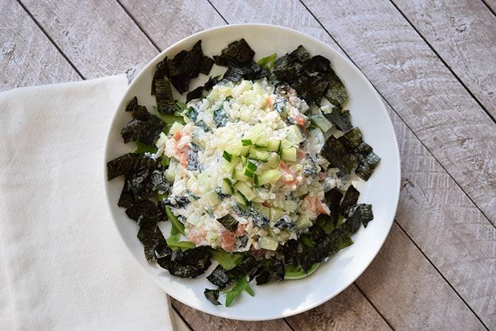 Rijstsalade met roomkaas en gerookte zalm - Karlijnskitchen.com