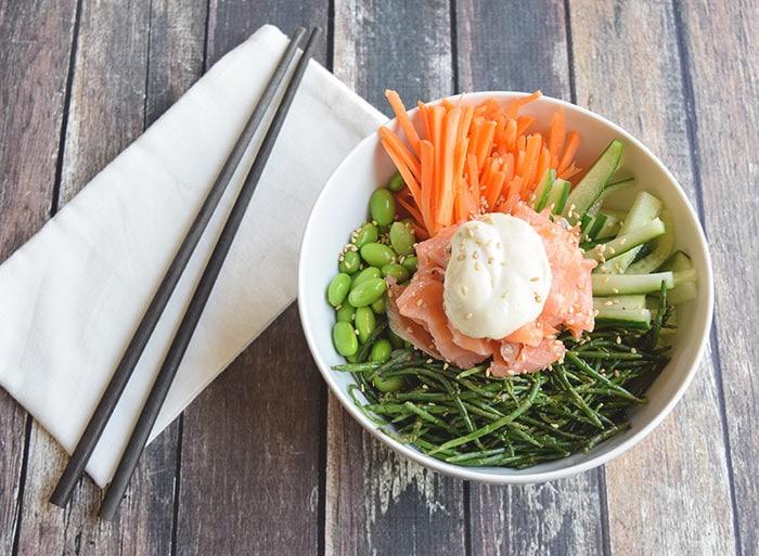 Sushi bowl met zeekraal - Karlijnskitchen.com