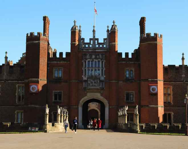 The historic Hampton Court viewed from the west entrance