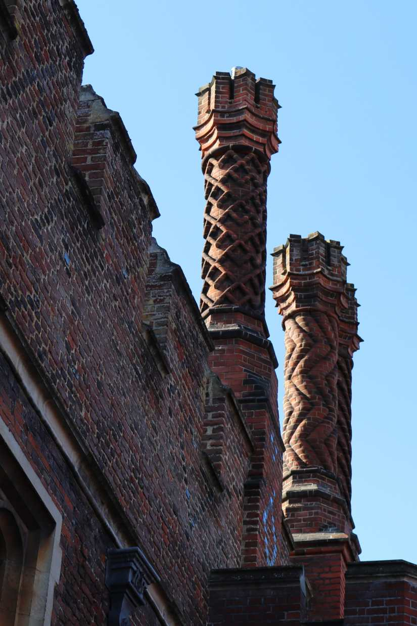 Tudor style chimneys of Hampton Court Palace were once the height of fashion.