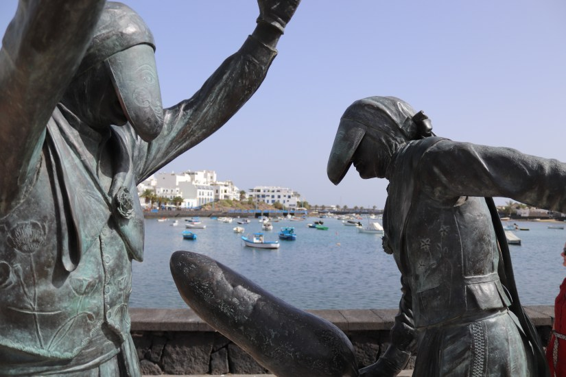 Statue in charco de san Ginés in Arrecife