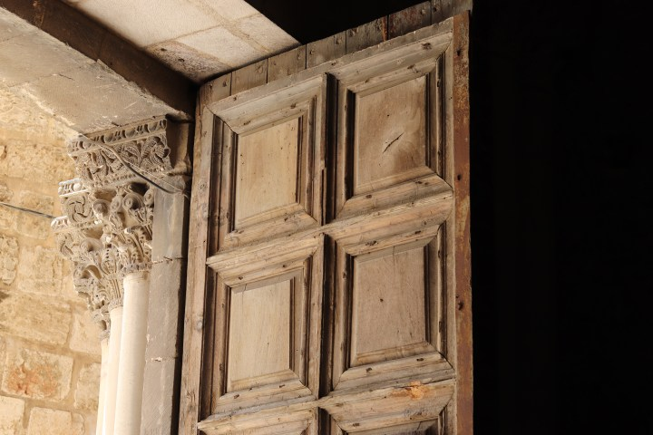 An open door at the church of the Holy Sepulchre, Jerusalem
