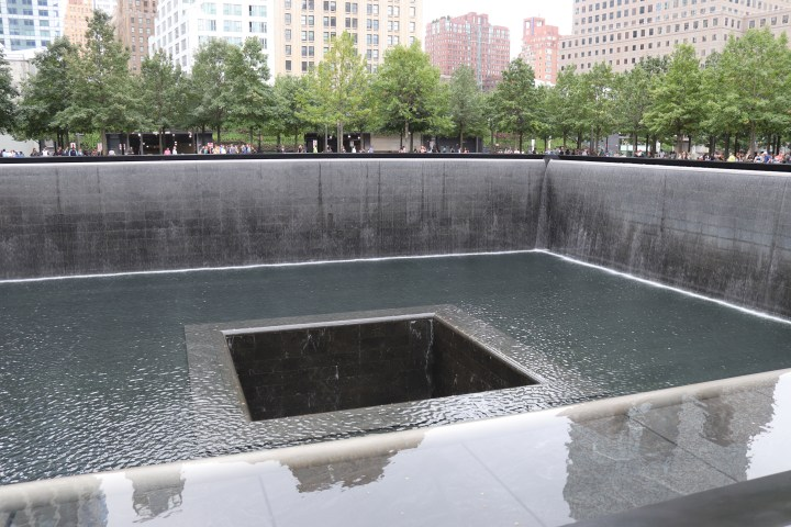 One of the sinking fountains at the World Trade Centre Memorial, New York.