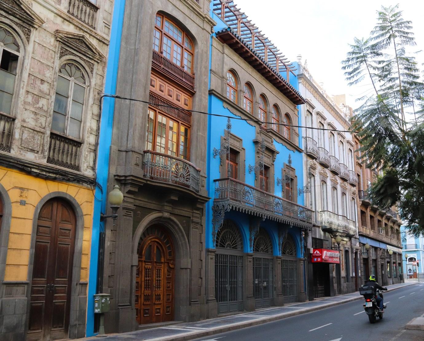 Beautifully decorated building in Tirana. Painted in bright colours with beautiful iron blaconys. Las Palmas de Gran Canaria.