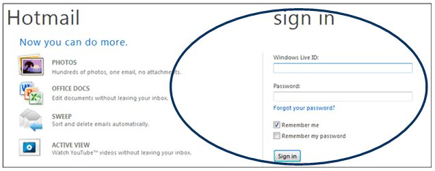 Hotmail login mind base joining of form