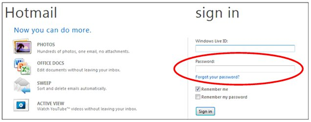 Hotmail, password problems