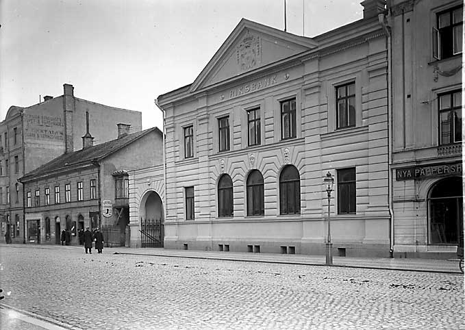 Riksbankshuset efter ombyggnaden då det fick dagens utseende.