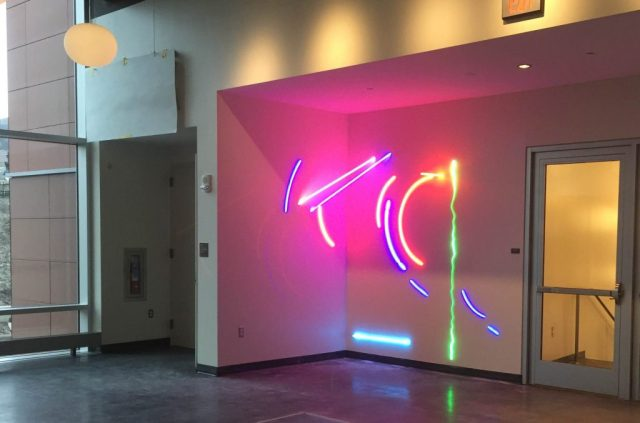 Neon Sculture, Buck Hall, Lafayette College, Stephen Antonakas. Karl Stirner Arts Trail.