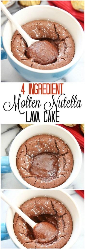 4-Ingredient Molten Nutella Lava Cake