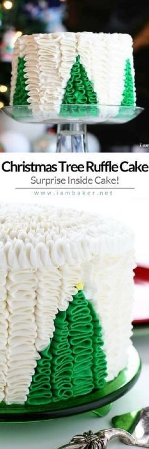Christmas Tree Ruffle Cake