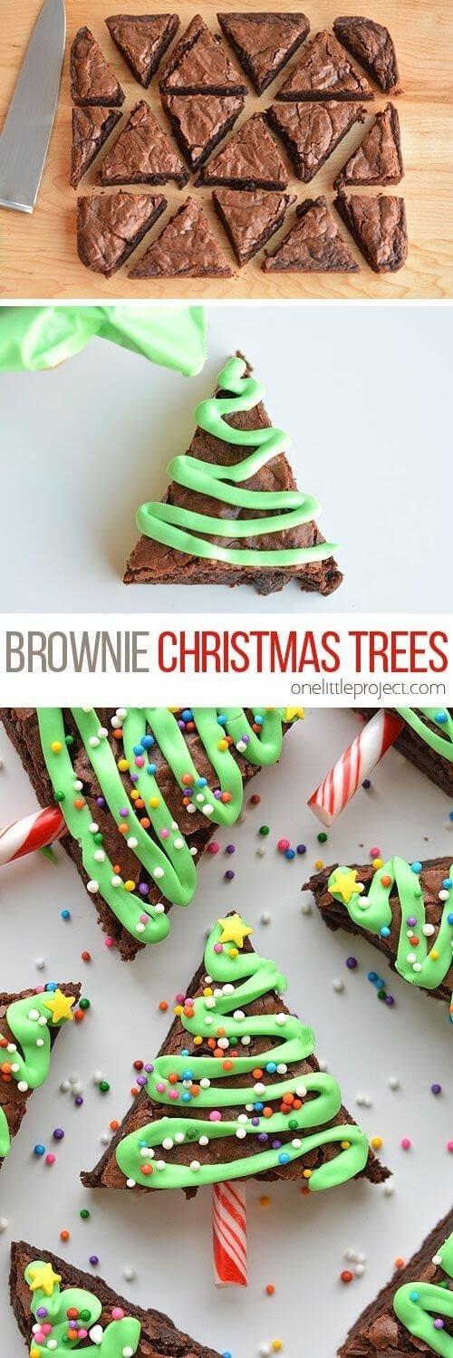 Easy Christmas Tree Brownie Pops
