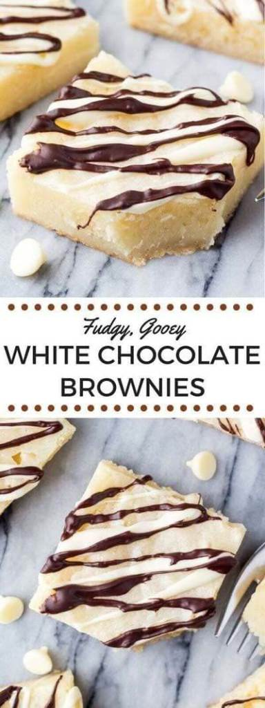 Fudgy Gooey White Chocolate Brownies