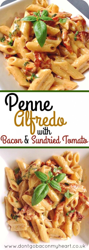 Penne Alfredo with Bacon and Tomato