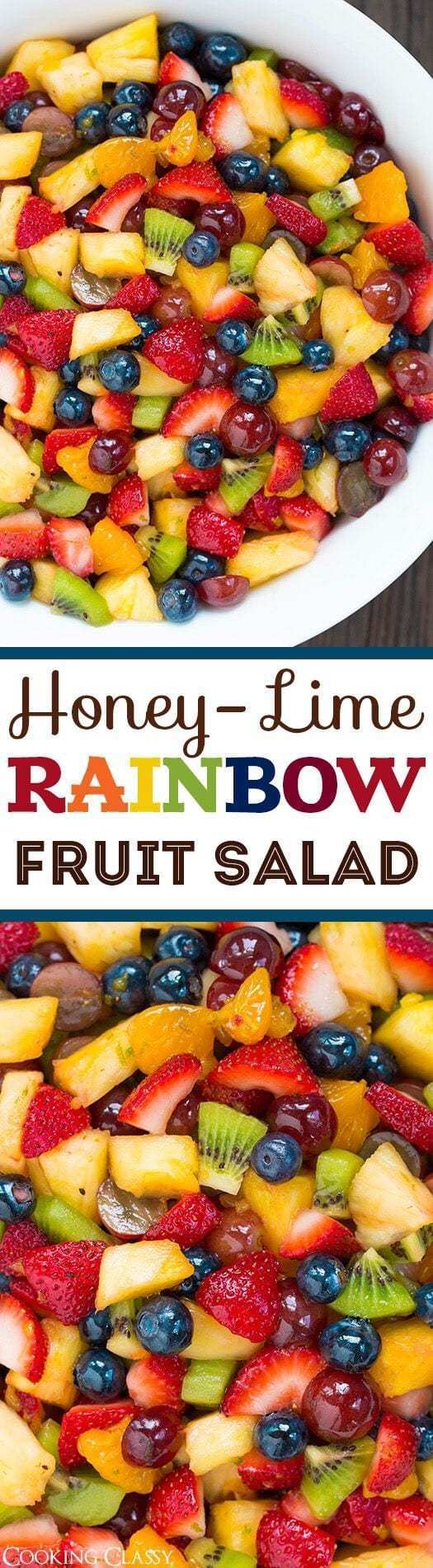 1. Honey-Lime Rainbow Fruit Salad