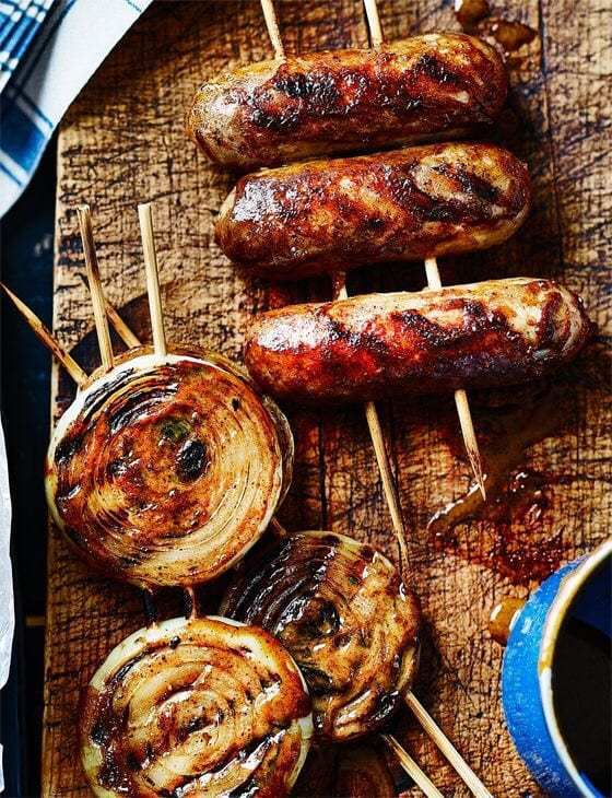 Sticky-Glazed Sausages & Onion Rings