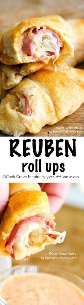 Reuben Roll-Ups - - 20 Best Croissant Sandwich Recipes