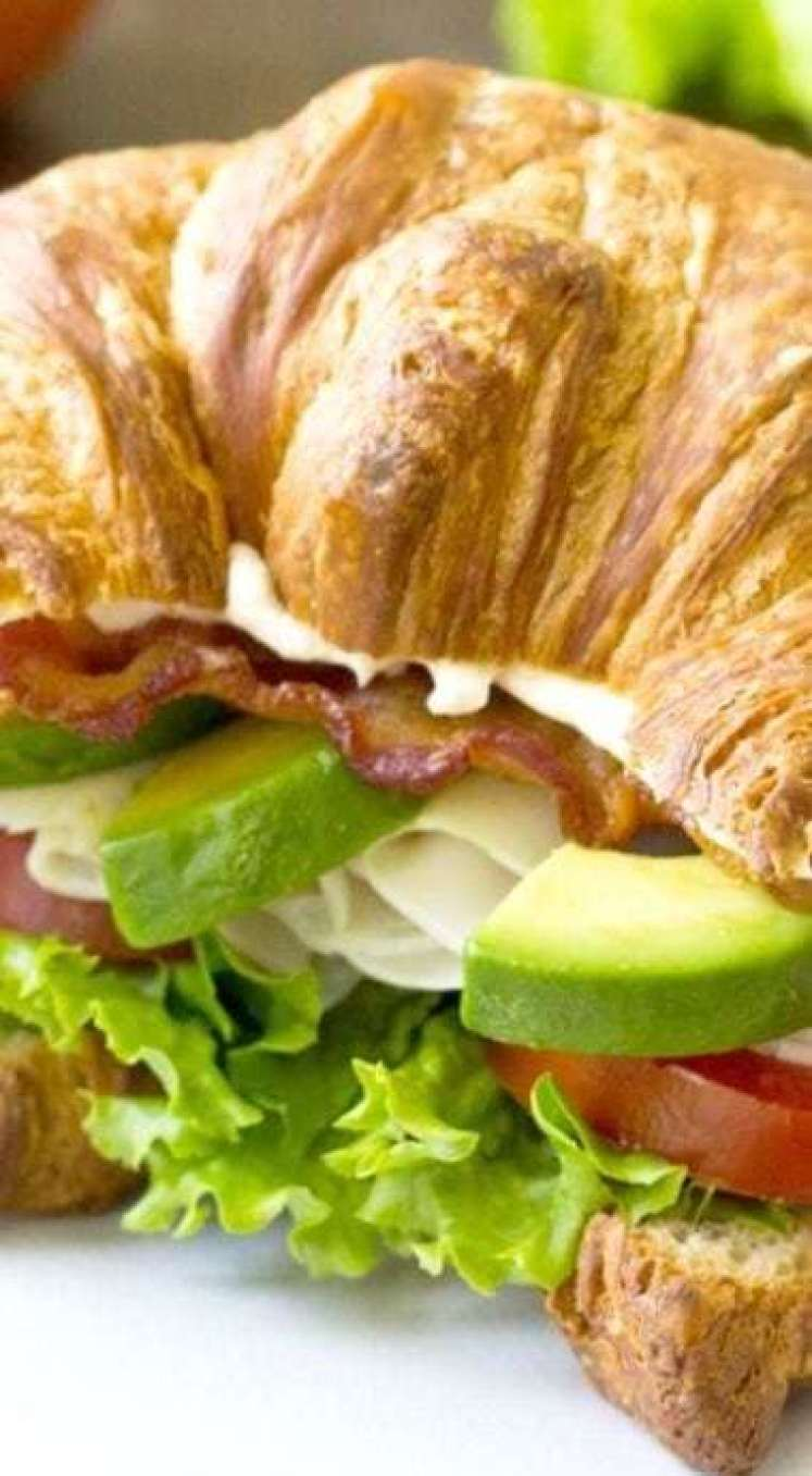 Turkey Avocado BLT Croissant - - 20 Best Croissant Sandwich Recipes