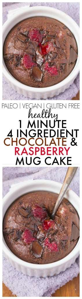 Easiest Healthy Chocolate & Raspberry Mug Cake