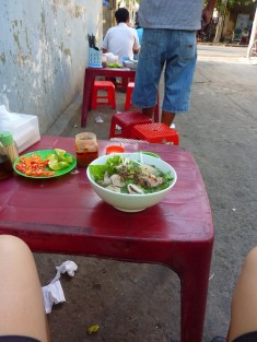 Early breakfast Pho in an alley on the way out of Saigon
