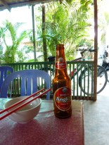 "One popular brand of Cambodian beer is called Angkor. Another is called Anchor (pronounced with a ""ch""). Beer here costs less than a dollar."