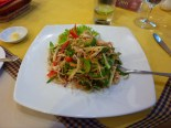 And the food was really good! This is a chicken banana flower salad I ordered.