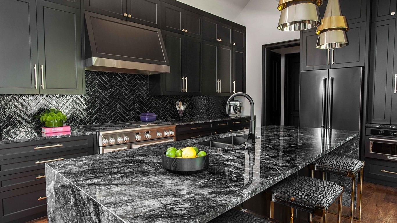 Black marble kitchen design