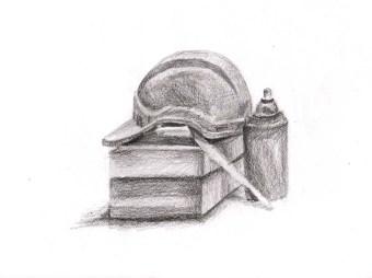 Helmet, Bottle and Box Still Life