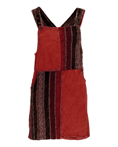 Karma Gear Handmade Stonewash Dungaree Dress with crochet and embroidery detailing, coconut buttons and waist and back pockets.  Fair Trade.