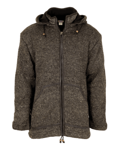 Charcoal Zip-off Hood Knitted Jacket