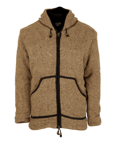 Natural Brown Classic Knitted Fleece Lined Jacket Fairtrade Handmade Karma Gear