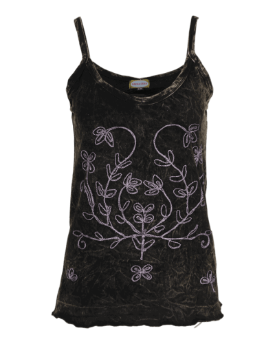 Karma Gear - Handmade Cotton stonewashed embroidered vest with floral motifs and spaghetti straps.