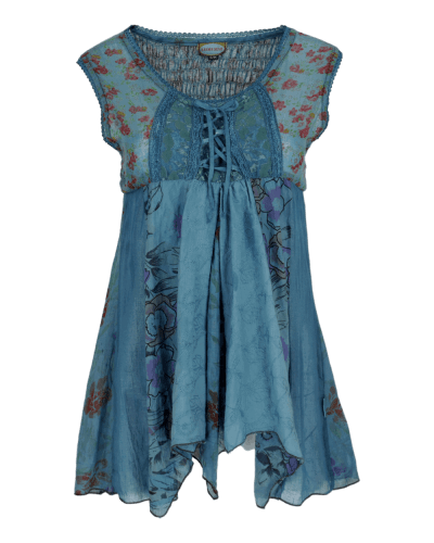 Karma Gear - Handmade long floaty lacy vest with printed cotton, lace up detail and elasticated back.