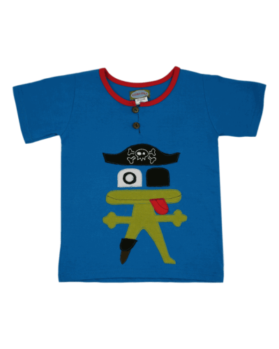 Handmade Pirate Frog T-shirt. Fairly Traded from Nepal. Karma Gear