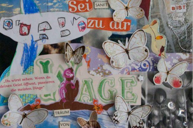 """Hier ist eine Collage aus verschiedenen farbigen Schnipseln und Bildern zu sehen. Unter anderem kleben Schmetterlinge auf dem Bild. Die Schrift """"Sei sanft zu Dir"""" ist zu lesen."""