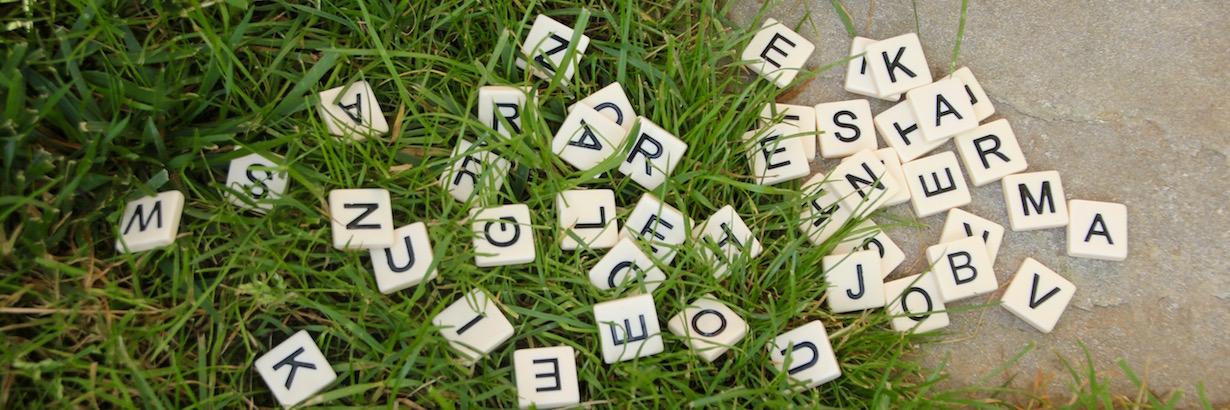 """Auf diesem Bild sind Gras und Steine zu sehen. Kleine Buchstaben von einem Scrabble-Spiel liegen darüber. Am Rand der durcheinander geworfenen Buchstaben sind die Wörter """"karma"""" und """"job"""" zu erkennen."""