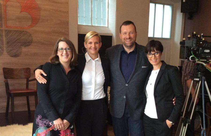 Von links nach rechts: Ich selbst, Dr. Simone Burel, Gründerin von LU, Ralf Siegelmann, Moderator und Initiator von UP!, und Barbara Limbeck, Zentrumsleiterin des gig7.