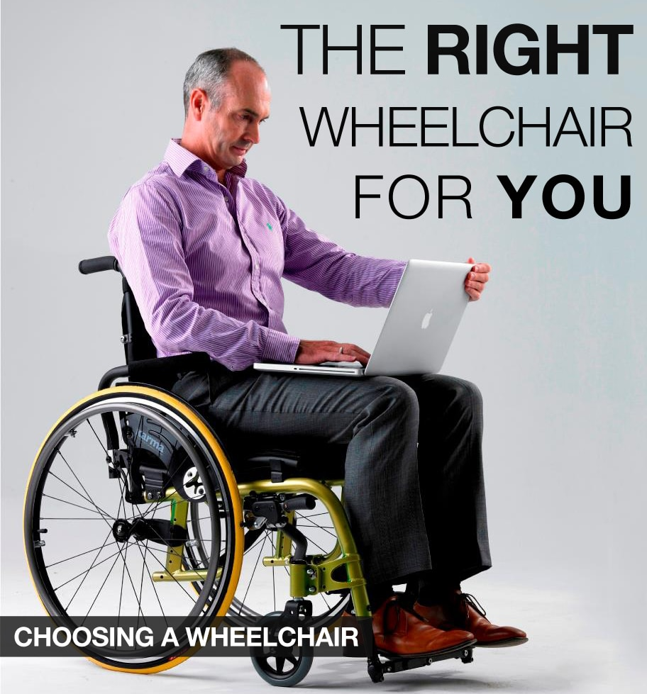 Adult male with gray hair sitting on a wheelchair and working on a laptop. Caption on top says
