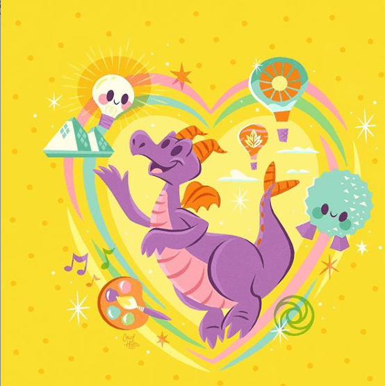 5 Disney Artists to Follow - Casey Hicks reimagines the Imagination Pavilion, Epcot, and Figment.
