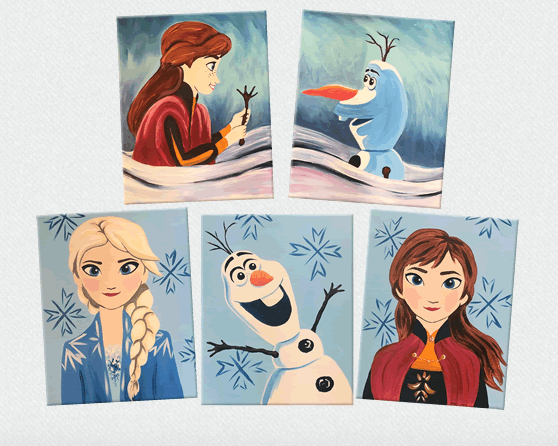 Learn how to paint Elsa, Anna, or Olaf in a relaxed setting to get ready for Frozen 2 at Painting with a Twist!