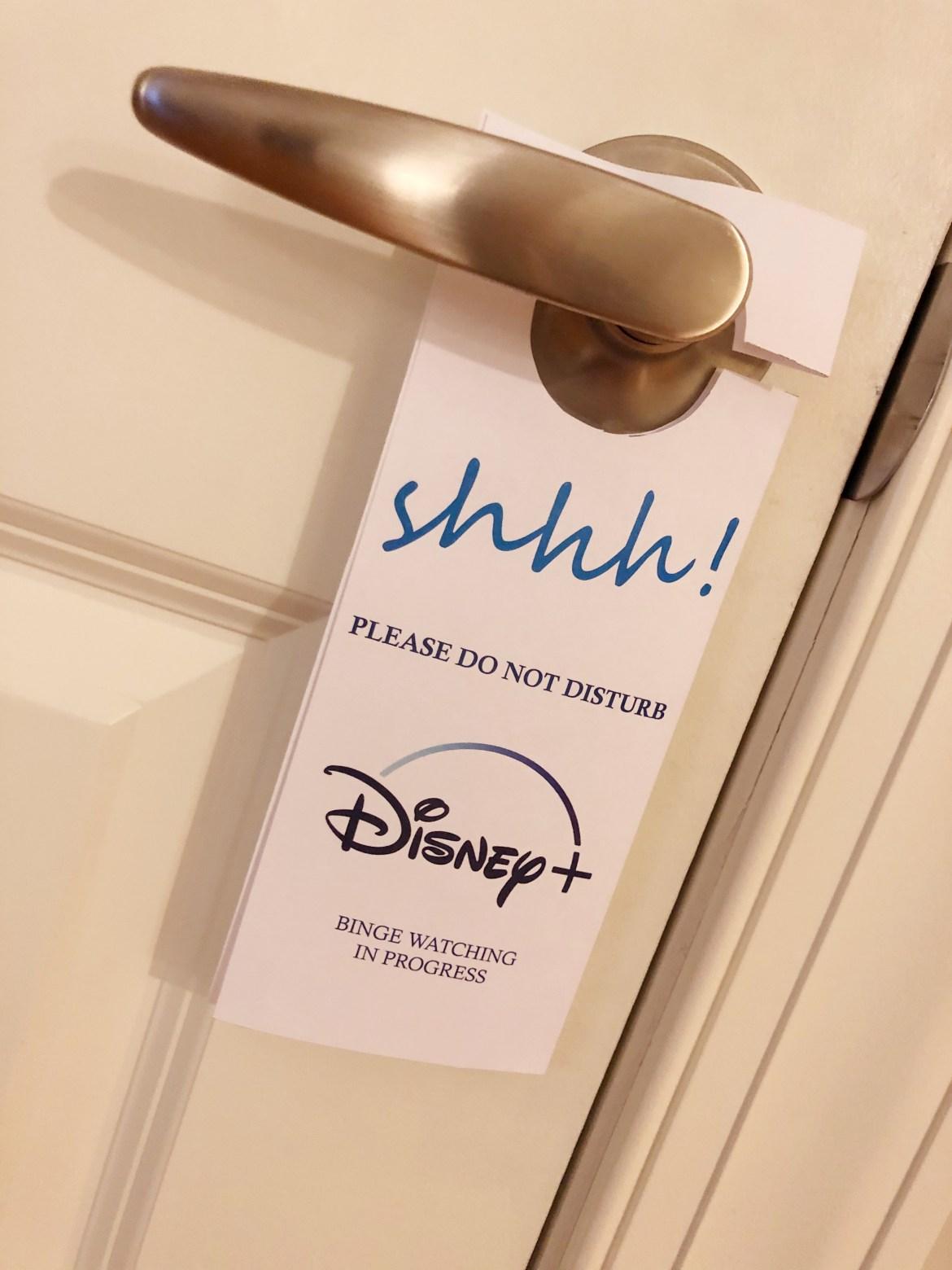 Disney+ door hanger do not disturb sign