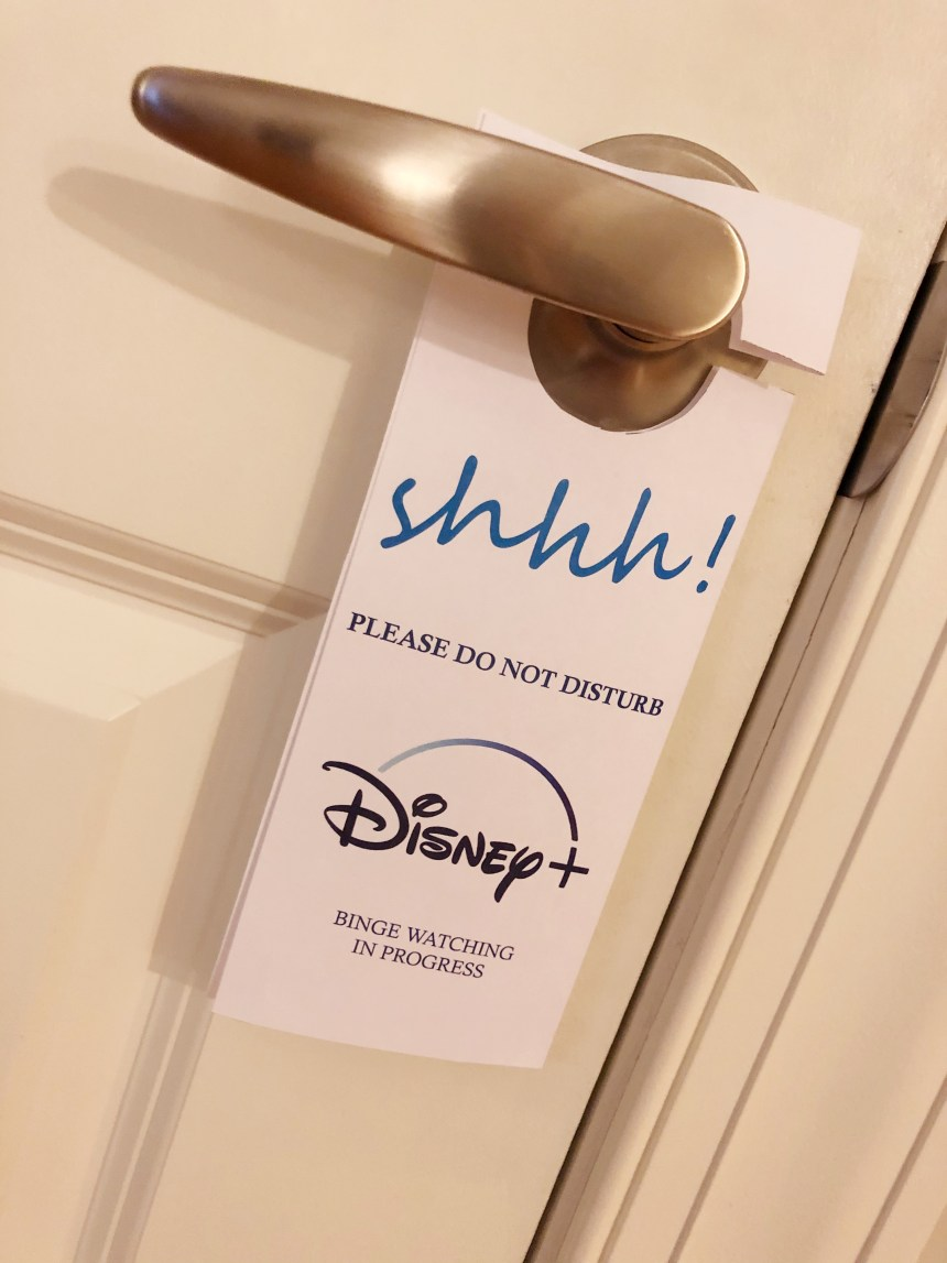 Disney+ door hanger do not disturb sign