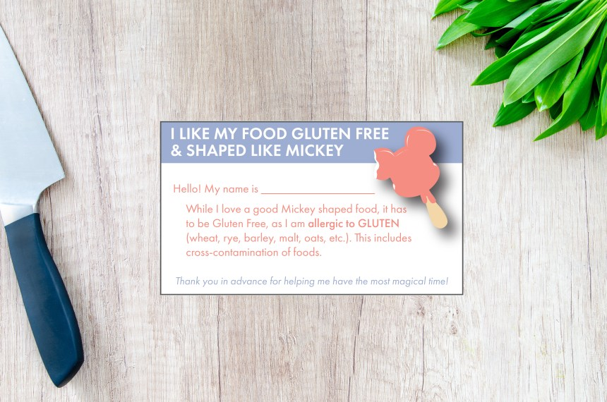 Gluten free Disney Restaurant Card download - printable