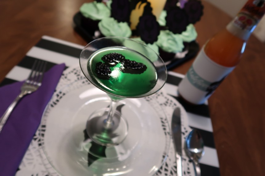 Green jello and blackberries for our Maleficent party