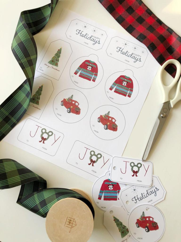 Printable Disney gift tags for christmas presents