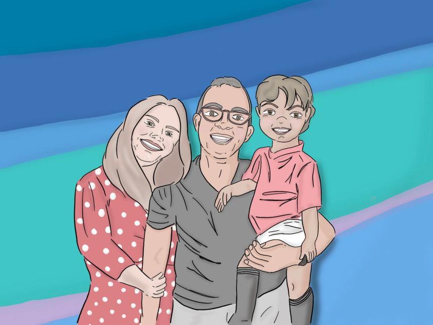 Disney style personalized family portrait