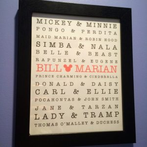 Disney couples art print