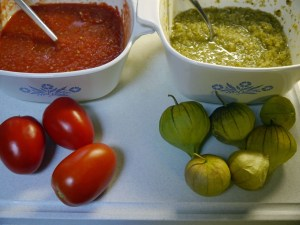 Tomato Salsa and Salsa Verde with pictures of Roma Tomatoes and Tomatillos.