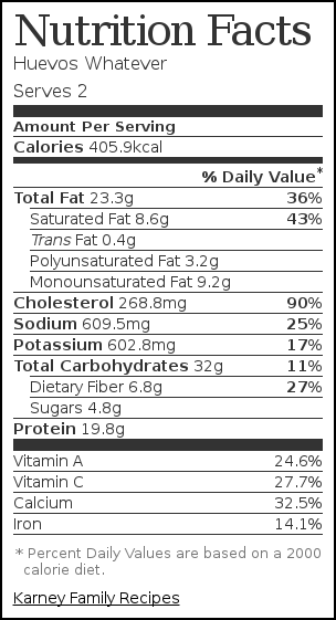 Nutrition label for Huevos Whatever
